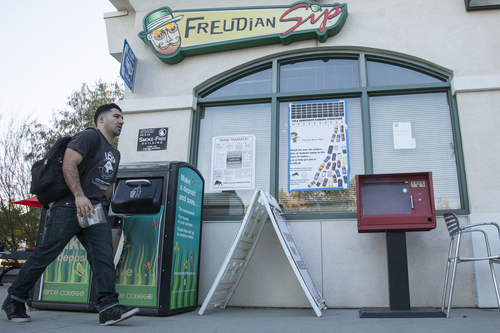Engineering major Walter Moreno, 25, walks in front of the Freudian Sip on Thursday, Feb. 25, 2016 in Woodland Hills, Calif. The Student Store plans to rebrand the Freudian Sip this semester and the new, unnamed cafe, will open sometime during the Summer.  Read the full story of the Freudian Sip's rebranding   here  .