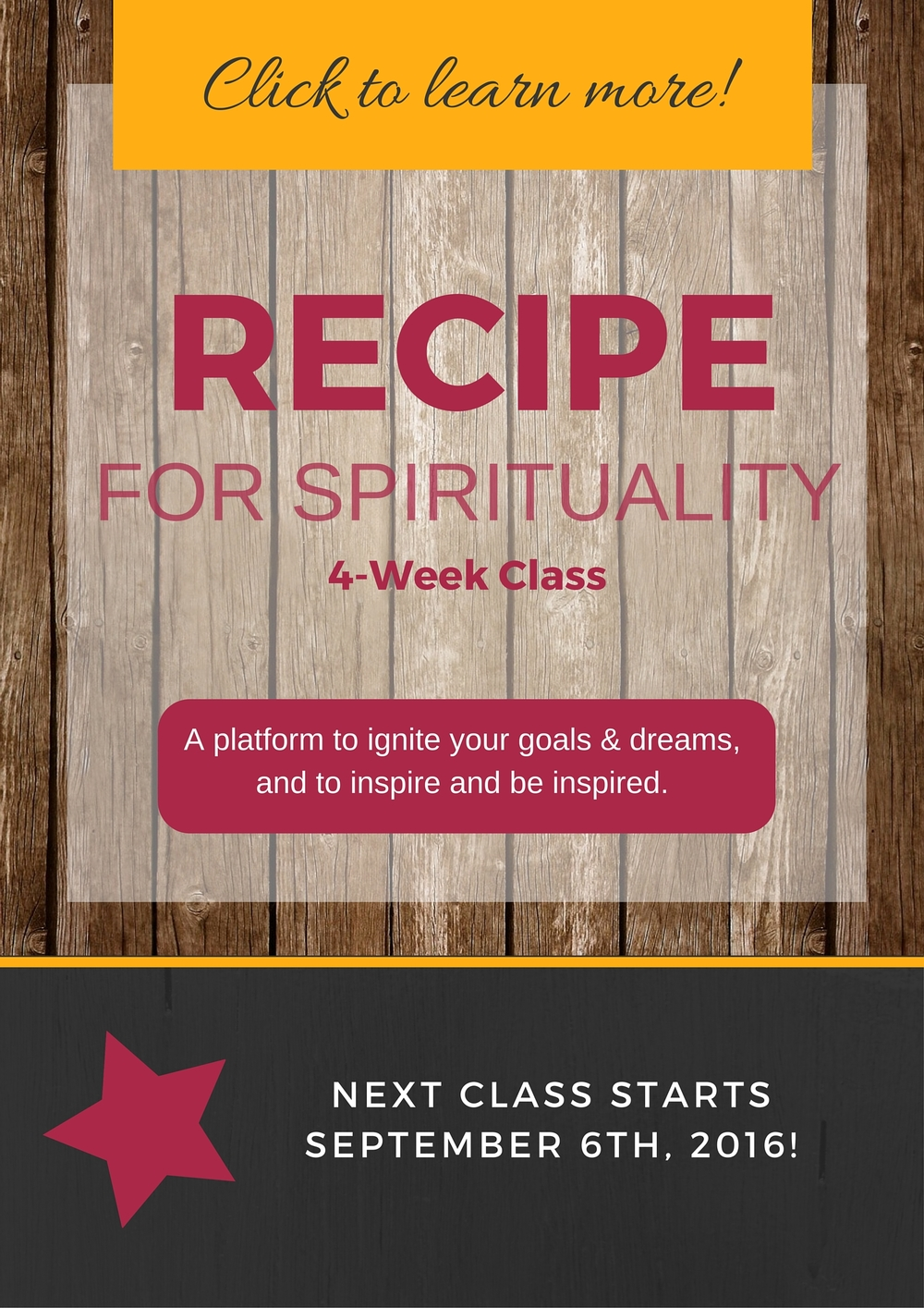 Click this button to learn about our next Recipe For Spirituality class starting soon!