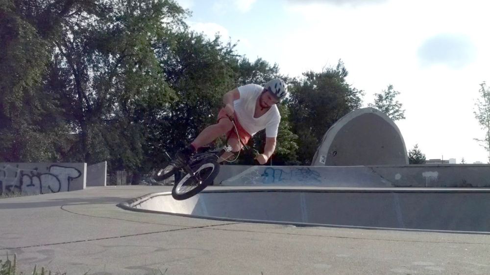 Catching some air on my BMX.