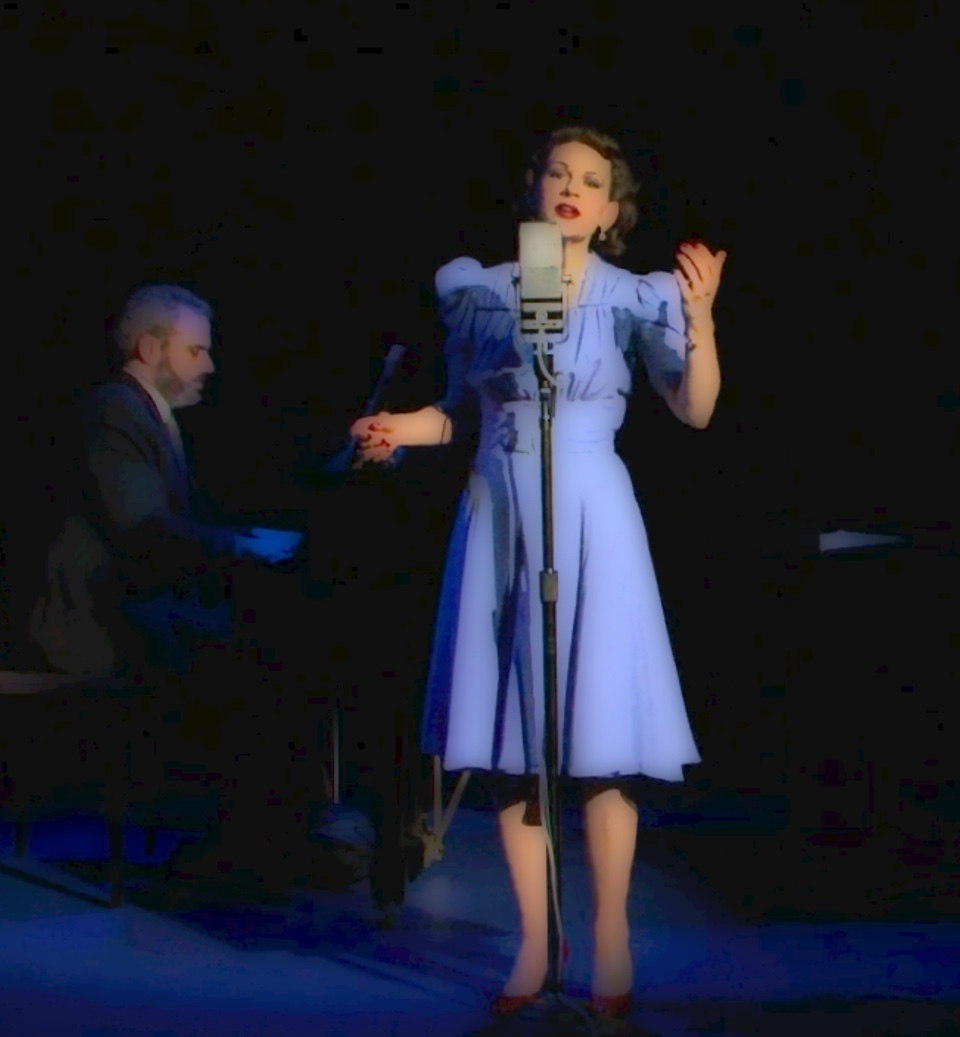 Joan Ellison in  Love Finds Judy Garland,  with Jason Aquila at the piano