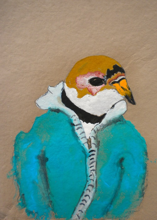 "Fox Sparrow,  2014    10 x 12"" gouache, oil stick and graphite on handmade rag paper"