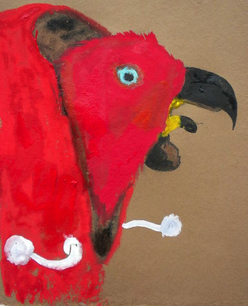 "Sharp Billed Eclectus,  2014 10 x 12"" gouache, oil stick and graphite on hand made rag paper"
