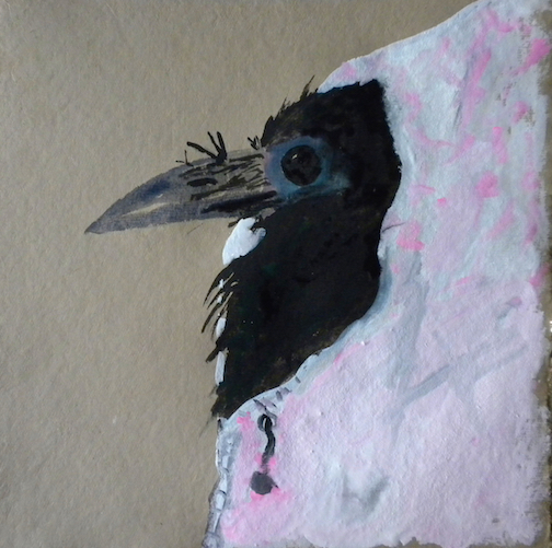 "Baby Crow Blues,  2014 10 x 10"" gouache, oil stick and graphite on hand made rag paper"