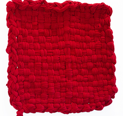 Red Chenille, 2015 Cotton blend chenille 47 x 50 inches Unique