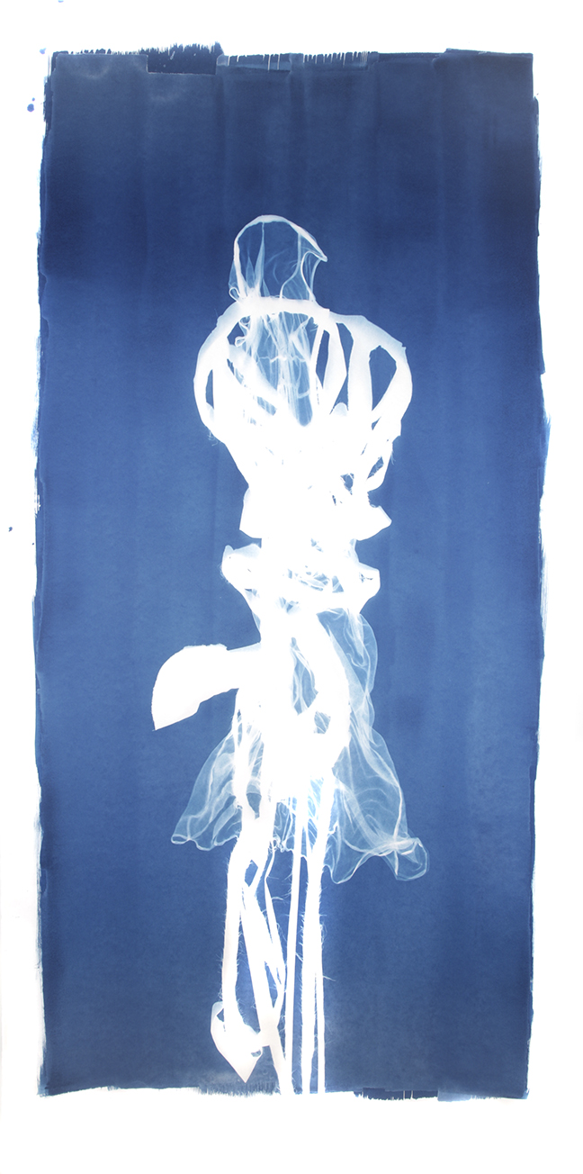 Mary Beth Heffernan  Blue 3 , 2011 96x51 inch cyanotype photogram Unique