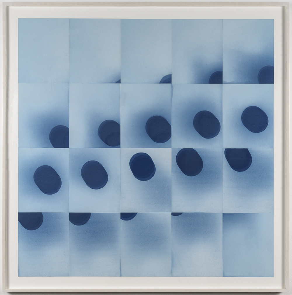 "Laura Forman  30 minutes, 20 days, 34° 3'8"" N, 118° 14'34"" W , 2015 Cycle of unique cyanotypes, capturing the movement of the sun for 20 consecutive days at 30 minute intervals Image: 39 x 39 inches Framed: 44.5 x 44.75 inches"
