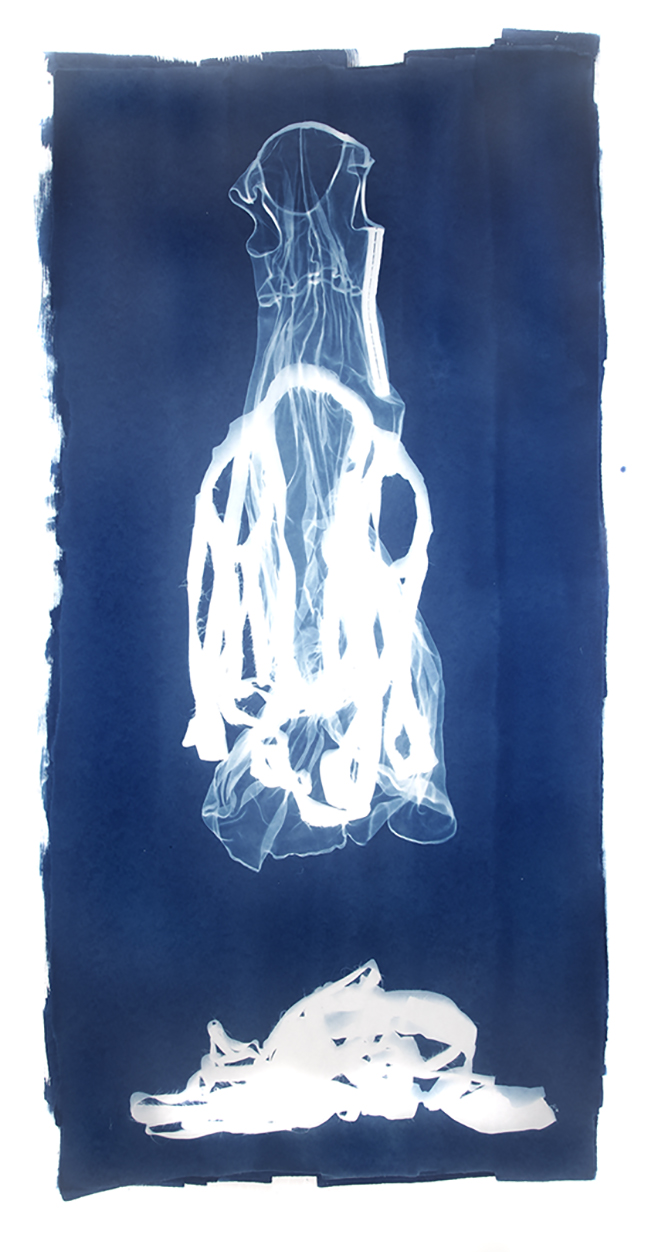 Mary Beth Heffernan  Blue 4 , 2011 96x51 inch cyanotype photogram Unique