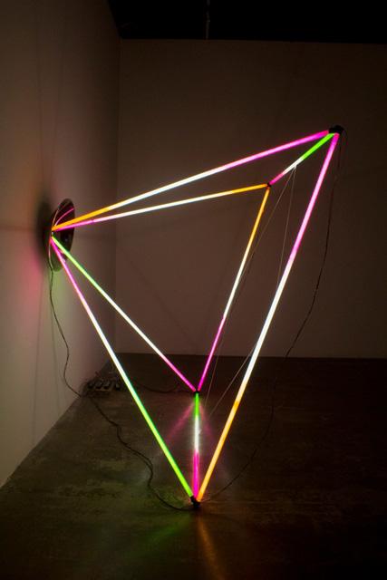 Jason Peters Site-specific light sculpture, 2012 Fluorescent tubes, spray paint Approx. 8 x 8 x 6 feet