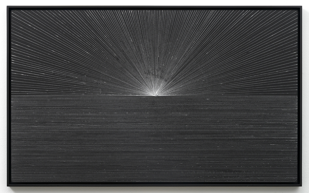 Jason Peters  Untitled , 2014 Silver ink on black construction paper 21.5 x 35 inches Mounted to aluminum Unique