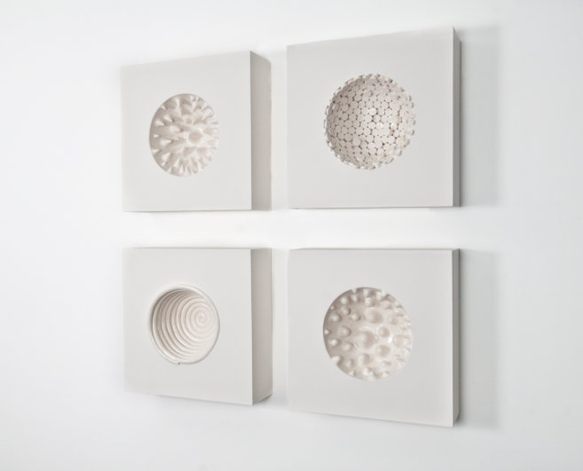 Elizabeth Orleans  Inner Space Squares , 2014 Glazed ceramics and wood 10 x 10 x 3 inches