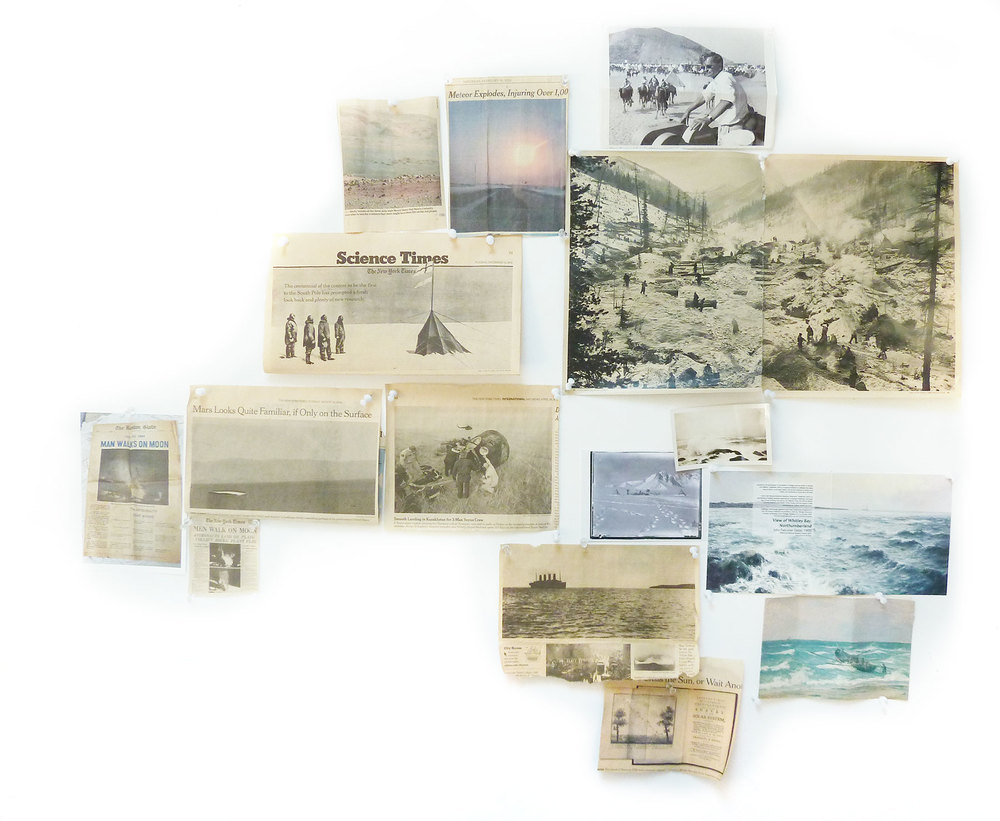 View of artist's studio wall with newspaper clippings / inspiration for Captains of the Dead Sea