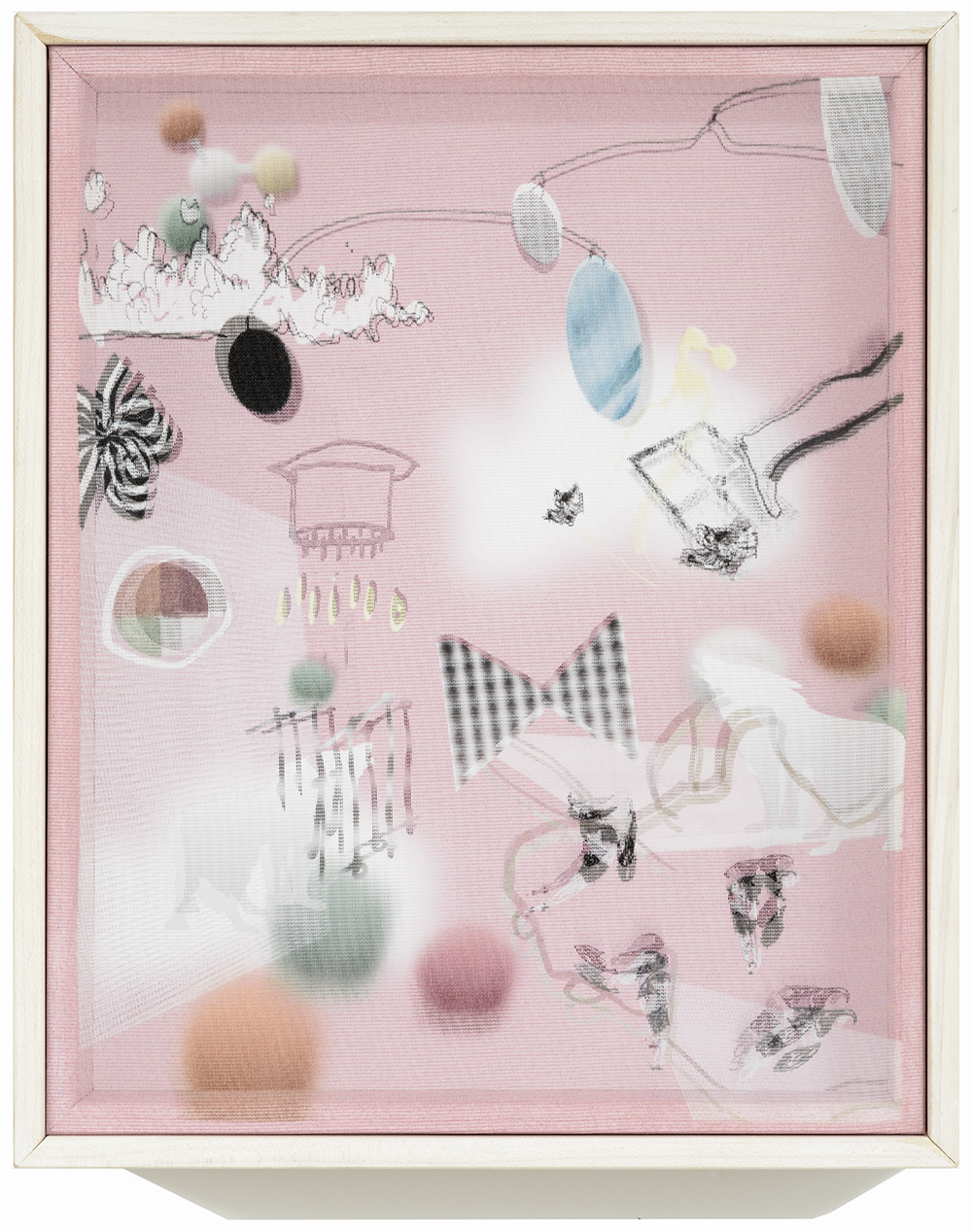 Adele Mills  The Birthday Party , 2016 8 x 10 inch Mixed Media / Kinetic Object Print on fabric over print on paper, framed in custom shadow-box From a limited edition of 5