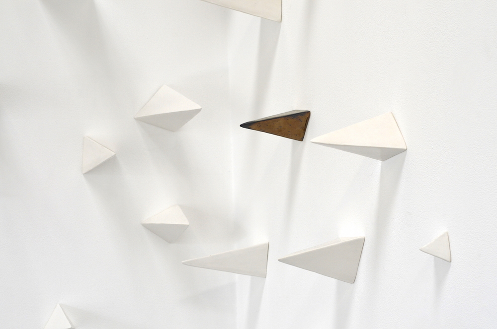 Elizabeth Orleans  Impalers Bluff  (detail), 2016 Installation of 70 ceramic pyramids, various dimensions