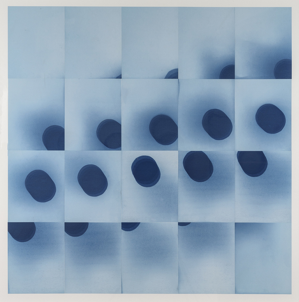 "Laura Forman  30 minutes, 20 days, 34° 3'8"" N, 118° 14'34"" W , 2015 Cycle of unique cyanotypes, capturing the movement of the earth for 20 consecutive days at 30 minute intervals Image: 39 x 39 inches Framed: 44.5 x 44.75 inches"