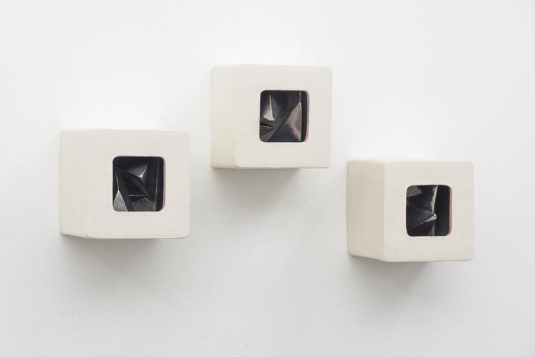 Elizabeth Orleans   Augmented Triad,  2016   6 x 6 x 6 inches;5.5 x 6 x 6 inches;4.75 x 6 x 6 inches   Glazed ceramic