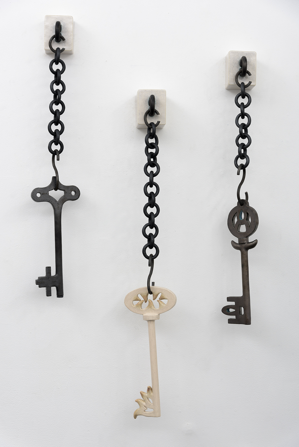 Elizabeth Orleans   (Left to Right)   Wind up  , 2016: Box: 4.75 x 4 x 2.5 inches; Key: 16.5 x 7 x .75 inches   Vesta  , 2016: Box: 4 x 4.75 x 4 inches; Key: 17.5 x 1.75 x 7.38 inches   Volturnus  , 2016: Box: 4 x 4.75 x 3 inches; Key: 17 x 1.25 x 7.5 inches