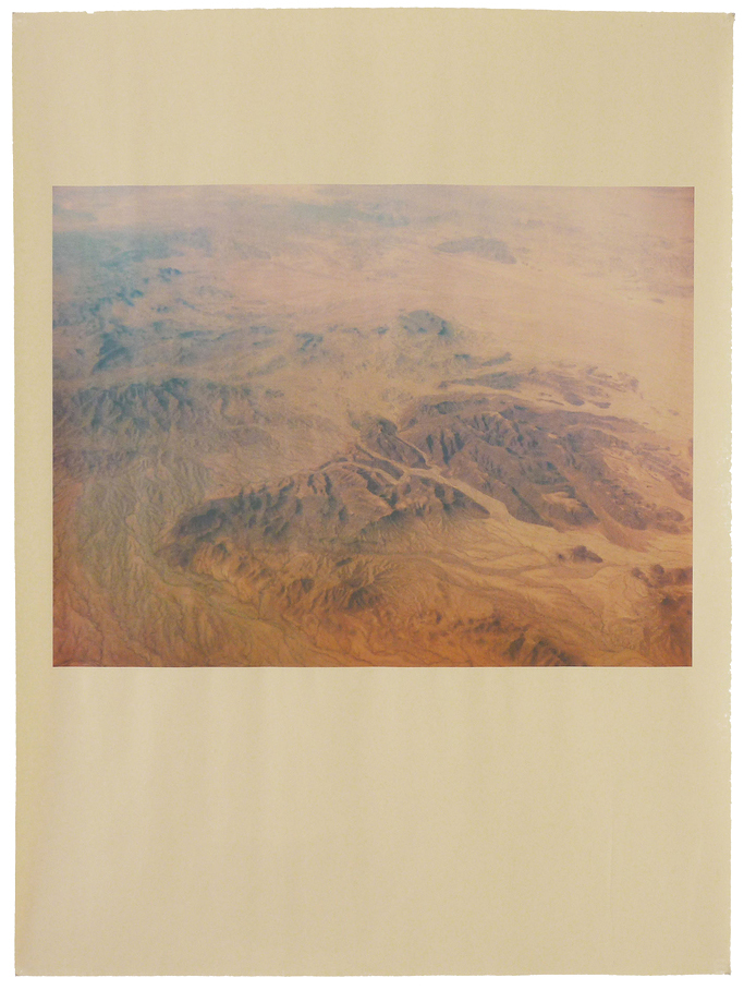 Alia Malley  AZ_1140 , 2015 Unique pigment print on newsprint Sheet : 18 x 24 inches / Framed : 20.25 x 26.25 inches Signed by the artist on verso Printed by the artist in 2015