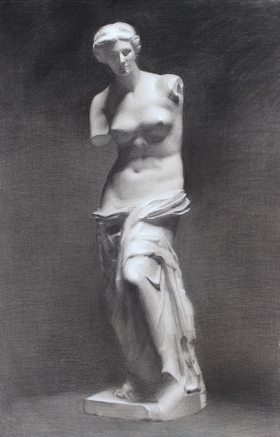 Ireland Wisdom  Venus de Milo,  2016 Charcoal and chalk on toned paper 40 x 27 inches