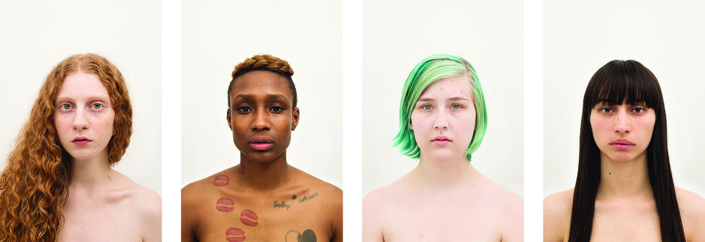 Amanda Vincelli  Regimen Portrait Arrangement A , 2014 / 2015 Set of 4 from the series,  Regimen  From a limited edition of 5         Individual portraits: 12.5  x 18.75 inches Archival pigment prints with UV matte overlaminate