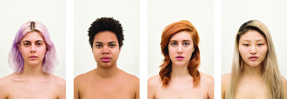 Amanda Vincelli  Regimen Portrait Arrangement B , 2014 / 2015 Set of 4 from the series,  Regimen  From a limited edition of 5         Individual portraits: 12.5  x 18.75 inches Archival pigment prints with UV matte overlaminate