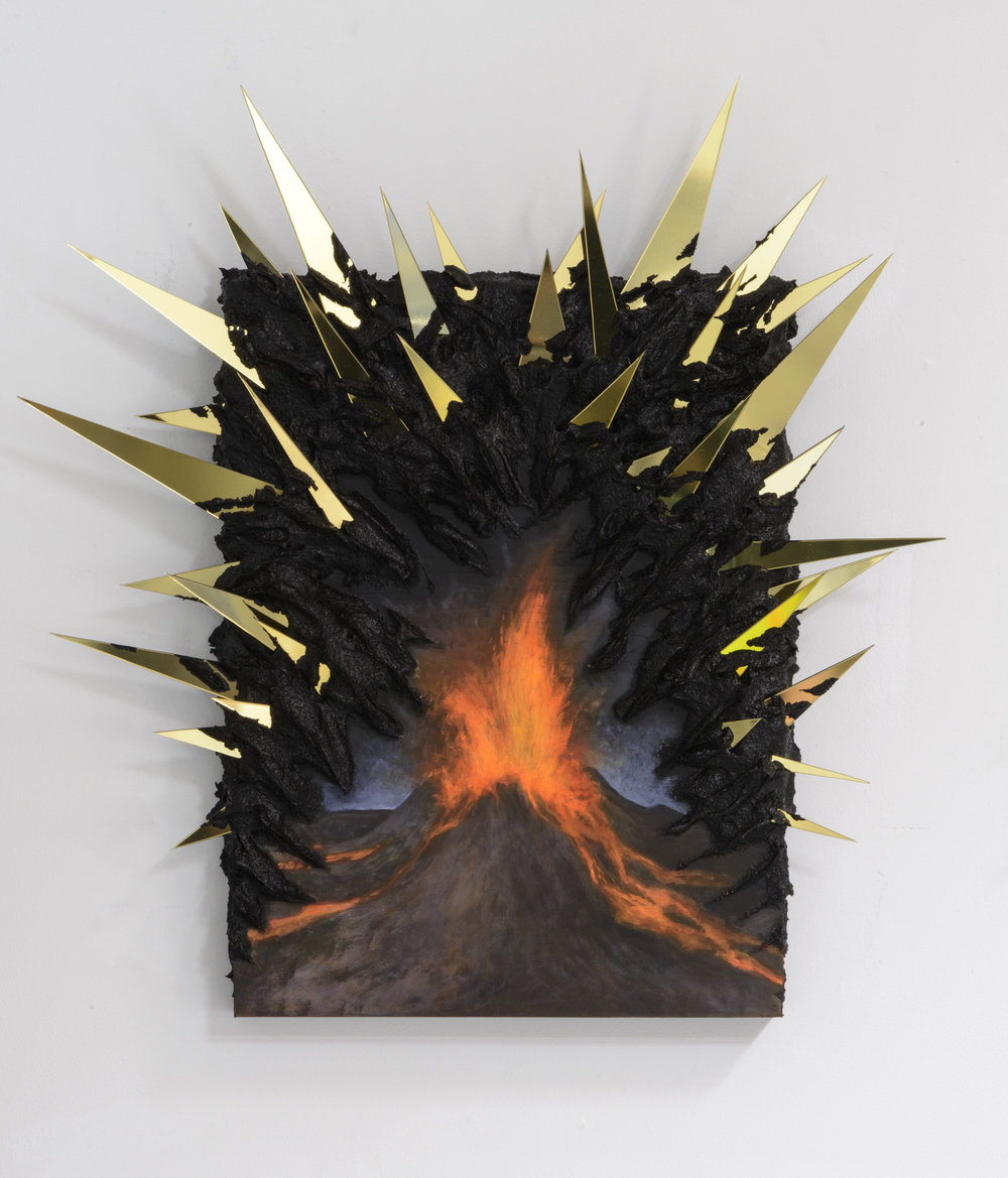 Kelly Berg  Magmatism,  2015 Acrylic and metallized ABS on wood 16 x 12 inches (variable)