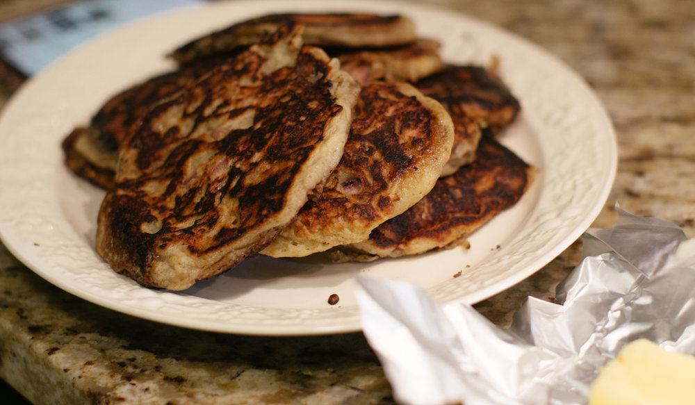 Rhubarb Pancakes:  These were supposed to involve rhubarb syrup, but the pancakes themselves were a last-minute breakfast-for-dinner decision, and they were still fantastic with maple syrup and butter. Sweet, buttery, and exactly how I like my pancakes.