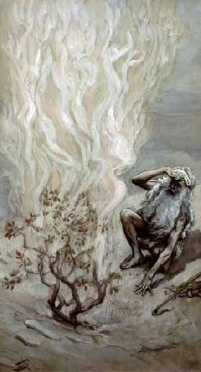 Moses adores god in the burning bush.