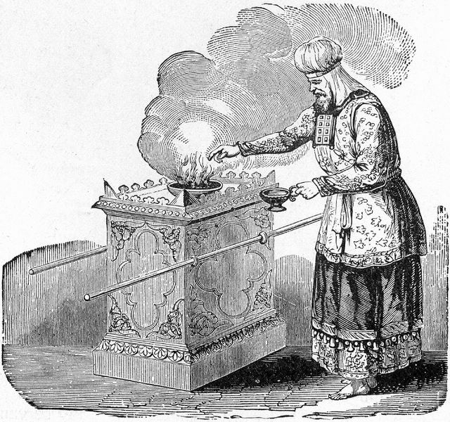 "High priest offering incense on the altar; illustration from Henry Davenport Northrop, ""Treasures of the Bible,"" published 1894."