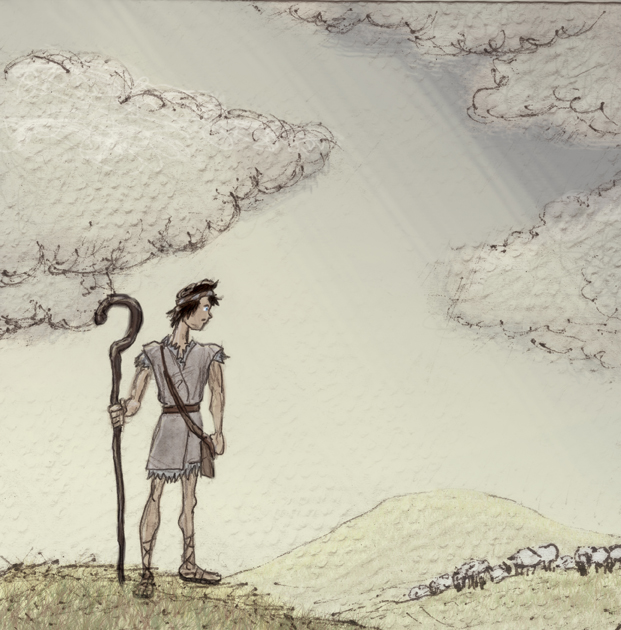 "Final illustration of David for ""The Shepherd and the Giant"""