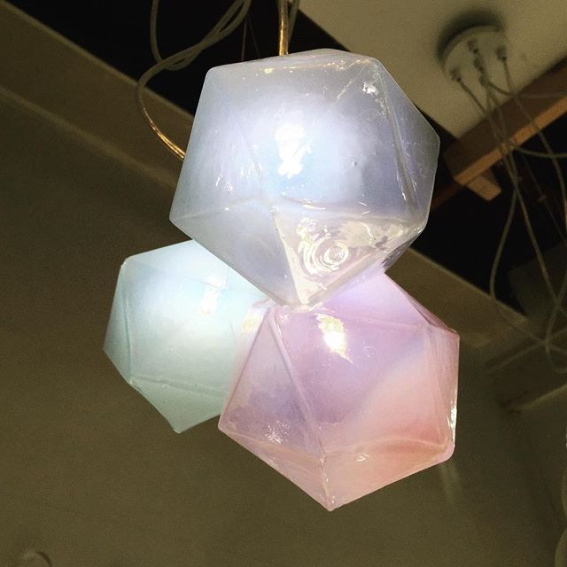 Day 3 of the Crawl. One of our Crystal Pendant lights.  Come by for a visit we are in #255 at the Mergatroid, 975 Vernon Dr. • • • • • • #eastsideculturecrawl #glass #glasslighting #lighting #vancouver #light #lightingdesign #pastel #crystal #icosahedron #dungeonsanddragons #platonicsolids #sasamatcreative #crystalwonderland #inthestudio #handmade #blownglass #led #decor #interiordesign #homedecor #modernism #architecturelighting #architecturallighting