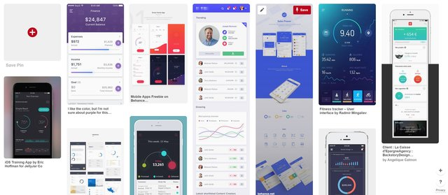 An inspiration board I put together when designing a mobile dashboard.