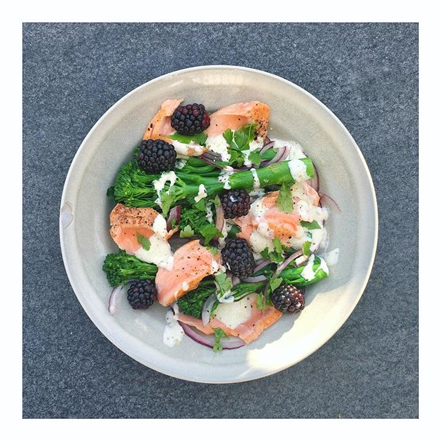 Eat the hedgerow 🍃 ⠀⠀⠀⠀⠀⠀⠀⠀⠀ Flaked salmon, tenderstem, red onion, lemon kefir dressing, blackberries 🖤 ⠀⠀⠀⠀⠀⠀⠀⠀⠀ Nothing particularly pretty about this creation, as I haven't unpacked my camera and photography kit yet, plus I can't really be bothered! 😊 #septemberslump ⠀⠀⠀⠀⠀⠀⠀⠀⠀ #eattheseasons #kefirdressing #blackberries #eatthehedgerow