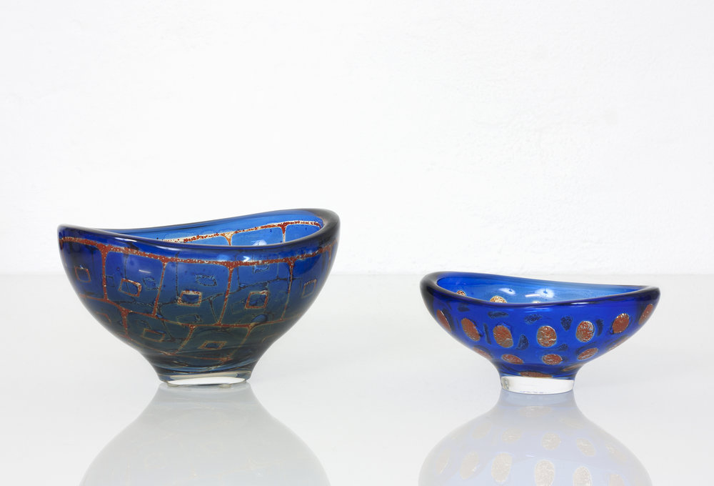 "Two large bowls by Sven Palmqvist for Orrefors. The technique he developed in 1948 was named ""Ravenna"" after the Italian coast city where Palmqvist became fascinated by the early Byzantine mosaics illuminated on the walls of the Mausoleum Galla Placidia: ""I saw not walls but coloured air"".  We're happy to have sold these to an important private collection."