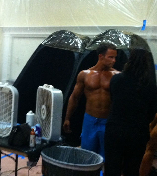 The tanning tents at the NPC show