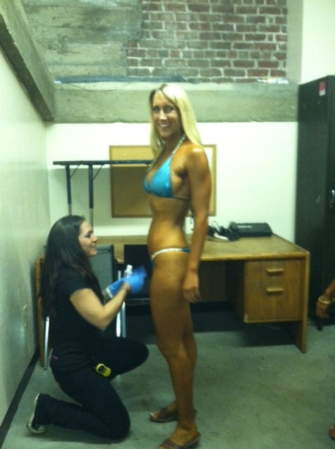 Buffing me before hitting the stage