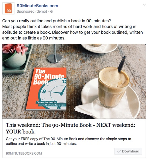 90-Minute Book Facebook Ad