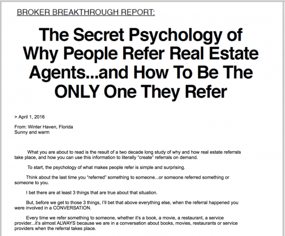 Secret psychology report