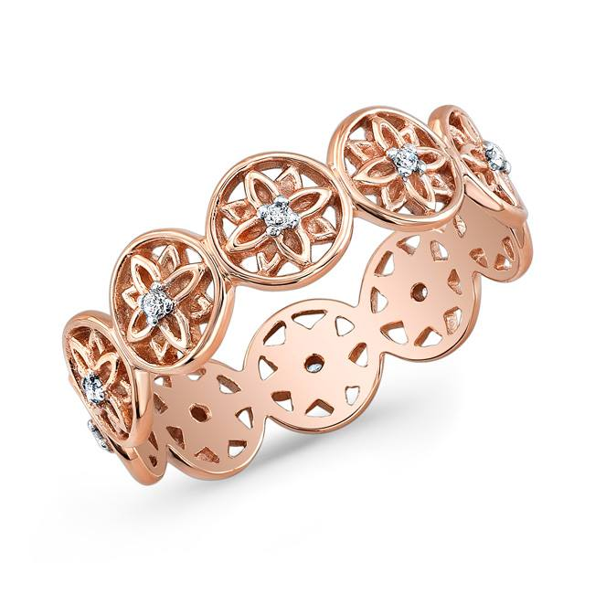 Mandala Bangle Bracelet in 18k Rose Gold with Diamonds.