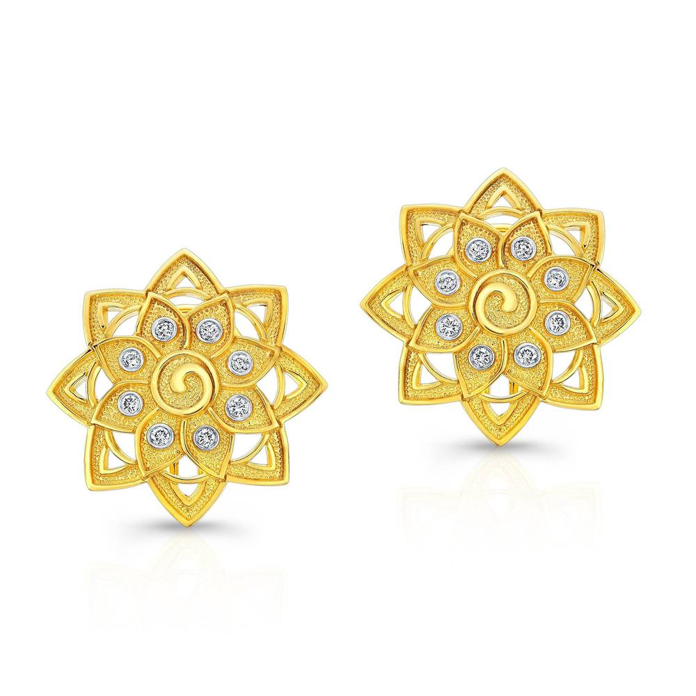Mandala Earrings with Diamonds set in 22k Yellow Gold