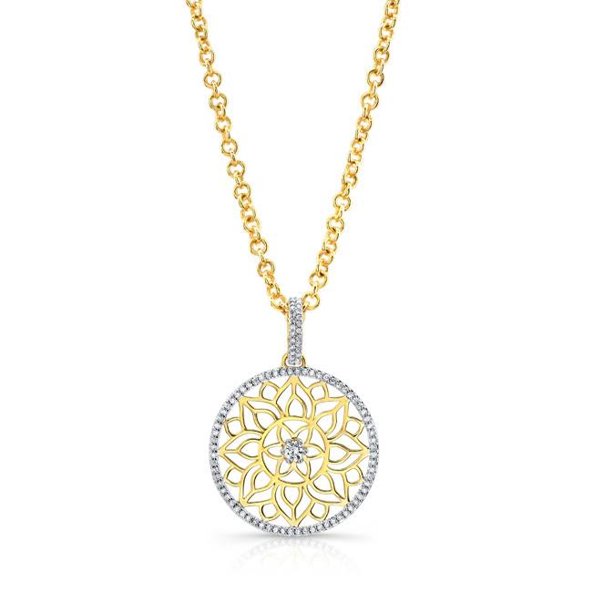 Mandala Dream Catcher Pendant in 22k Yellow Gold with Diamonds.