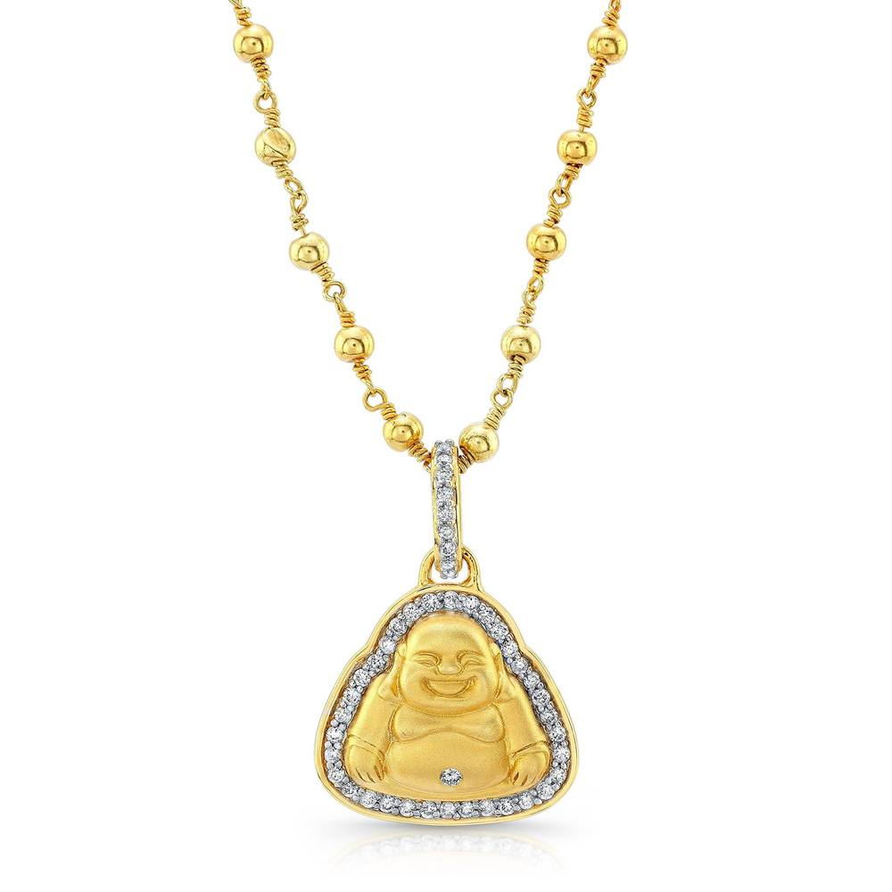 Buddha Pendant with Diamonds set in 22k Yellow Gold