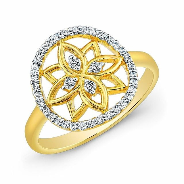 Mandala Dream Catcher Ring in 22k Yellow Gold with Diamonds.