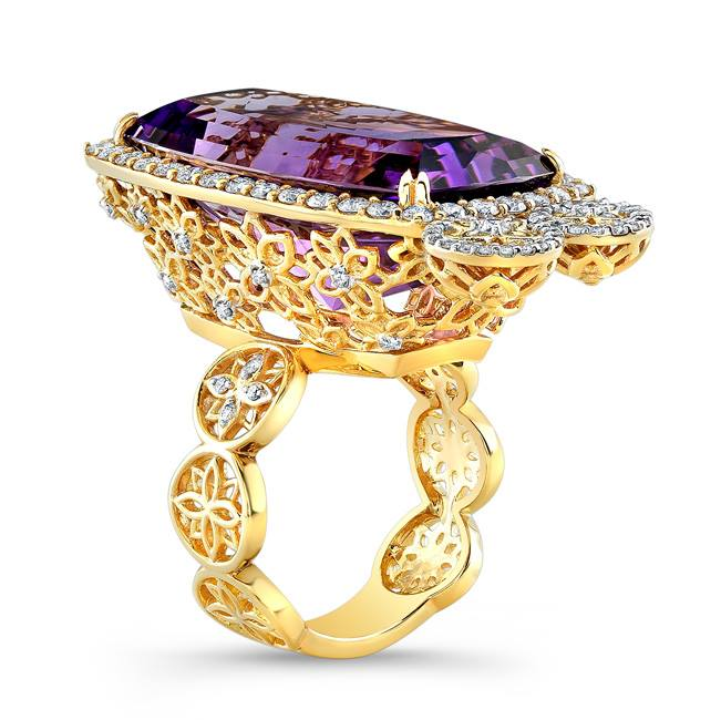 22 karat amethyst and diamond mandala ring