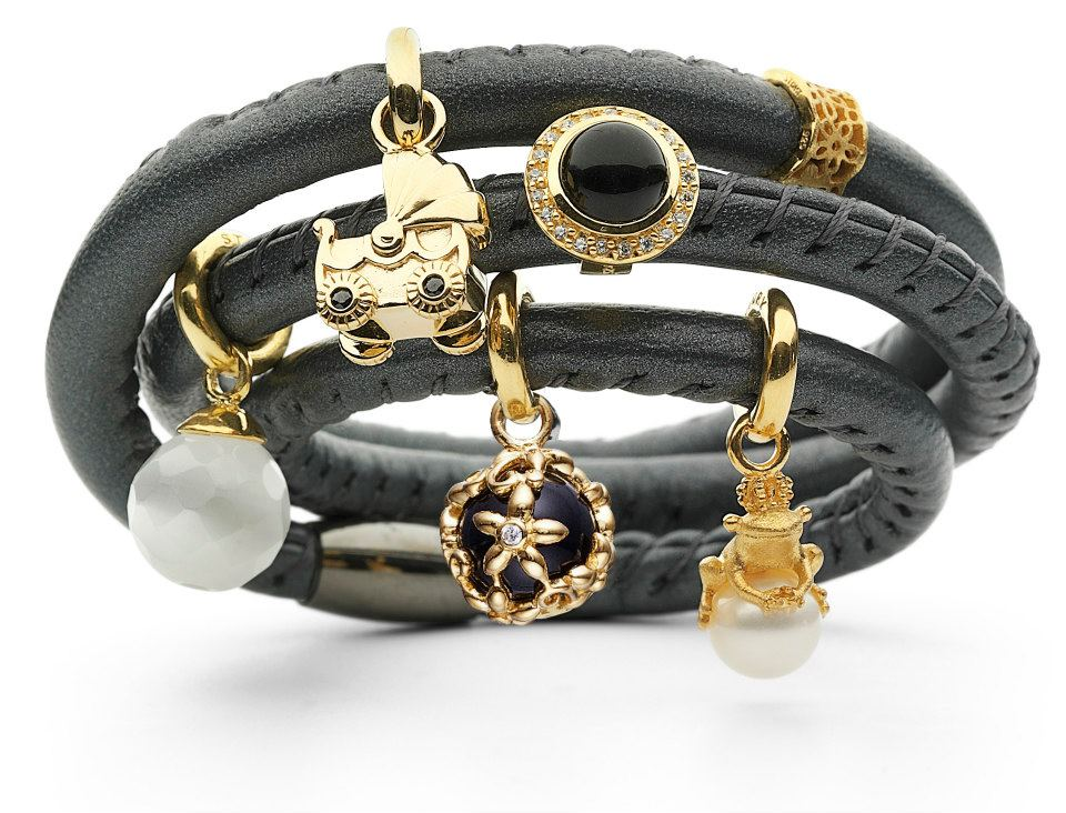 Lamb skin leather wrap bracelet with gold plated silver charms