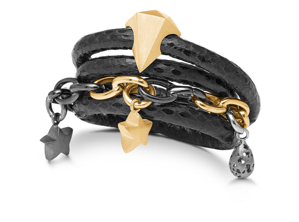 Black lamb skin leather wrap bracelet with gold plate and silver charms