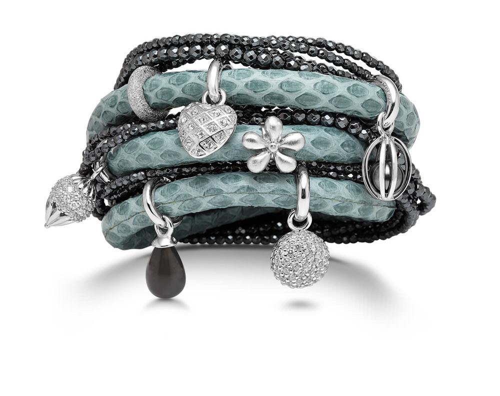 Snake skin leather wrap bracelet with silver charms and a hematite wrap bracelet