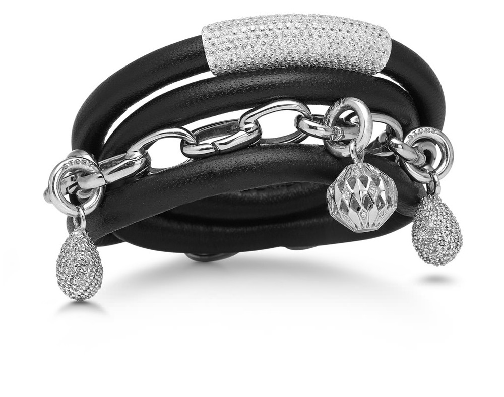 Black lamb skin leather bracelet with silver charms