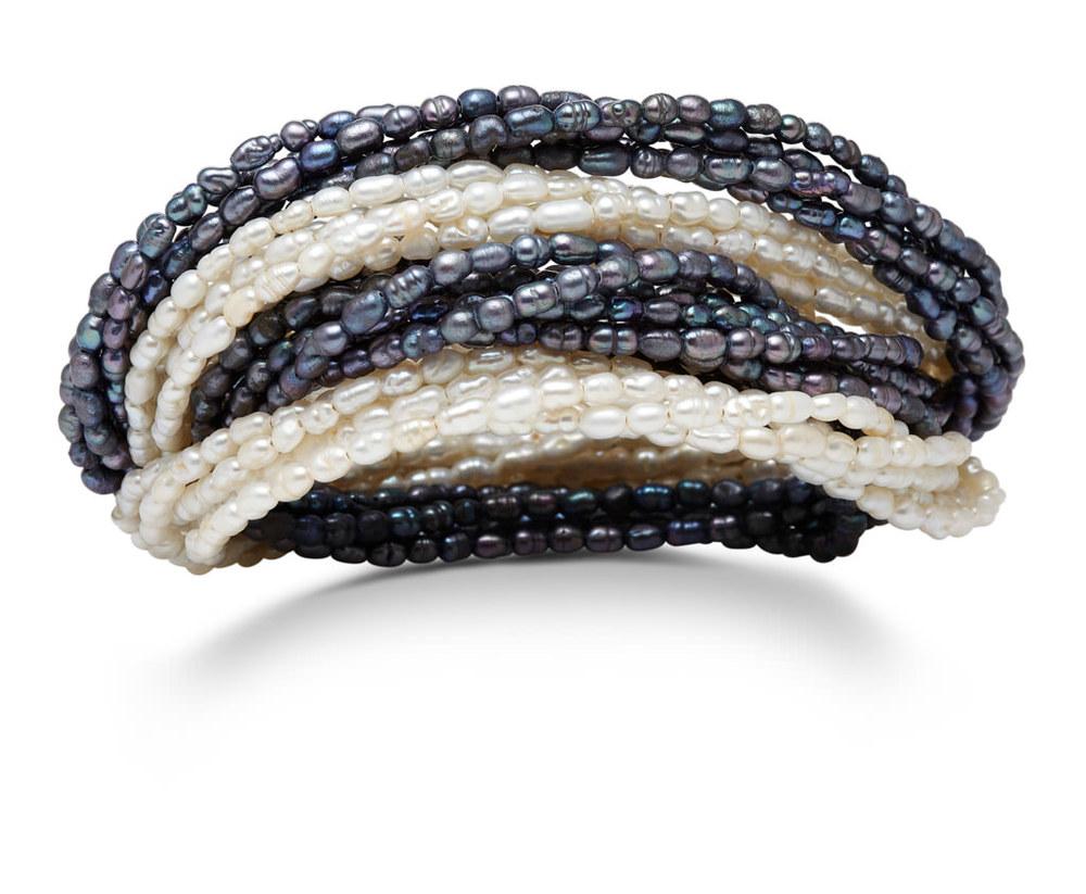 White an black pearl wrap bracelets