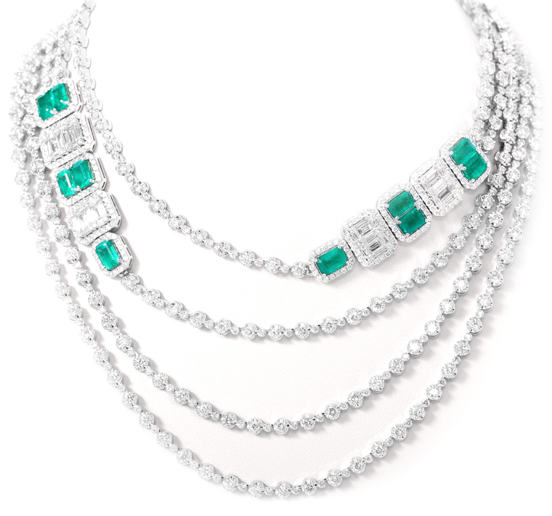 18 kt white gold Art Deco style long diamond necklace with natural white diamonds and the finest quality emeralds