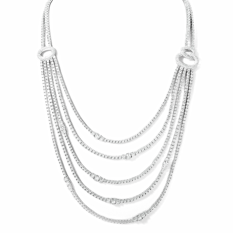 18 kt white gold diamond necklace with 27.86 carats of natural white diamonds